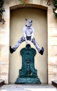 © Levalet, Octobre 2012 Saute, mouton, saute. Encre de chine sur kraft blanc sur fontaine