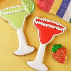 """Let the party begin! Margarita decorated cookies complete with a rim of """"salt""""."""
