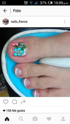 Uñas French Pedicure, Pedicure Nail Art, Toe Nail Art, Manicure, Pretty Toe Nails, Pretty Toes, Summer Toe Nails, Spring Nails, Feet Nail Design