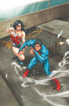 "artverso: ""Kenneth Rocafort - Superman and Wonder Woman """
