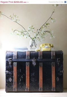 SALE.... large black antique steamer trunk blanket chest. $236.00, via Etsy.