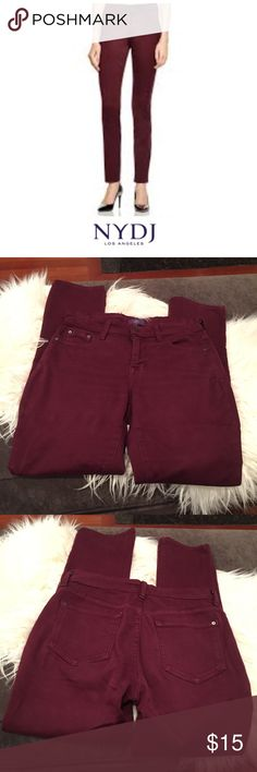 NYDJ Maroon Legging Skinny Jeans NYDJ Maroon Legging Skinny Jeans. 31 inch inseam. 9.5 inch rise. Gently worn, has wear on the waist, see photos. Feel free to make an offer or bundle & save. NYDJ Jeans Skinny