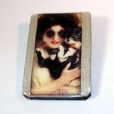 Vampire with her Cat, Wood Brooch, Wooden Brooch, Pearlescent Metallic Silver Card Stock Background, Glazed, Pin, Clasp by OldAgeElegance on Etsy