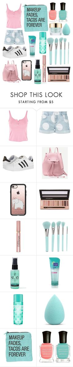 """""""Teal and Pink 02"""" by mainlydisney on Polyvore featuring Topshop, STELLA McCARTNEY, adidas, Casetify, L.A. Girl, L'Oréal Paris, Forever 21, Gerard Cosmetics, My Makeup Brush Set and Deborah Lippmann"""