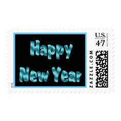 Turquoise Happy New Year Postage Stamps #zazzle #postage #newyear #2017