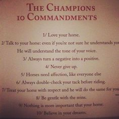 The Champions 10 Commandments, From Edwina Alexander