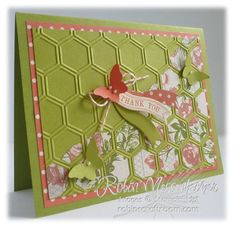 SU! Honeycomb embossing folder; Tea for Two DSP; Bitty Butterfly punch; Lucky Limeade and Calypso Coral card stock; Bitty Banners Framelits; Itty Bitty Banners stamp set - Robin Messenheimer