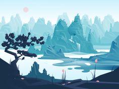 Fashion Illustration Design Moody Illustrations by Adrian Fernandez – Inspiration Grid Landscape Concept, Fantasy Landscape, Landscape Artwork, Nature Landscape, Environment Concept Art, Environment Design, Mountain Illustration, Chinese Landscape, Animation Background