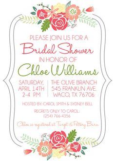 Garden flowers printable invitation template customize add text floral bridal shower by peachtreepaperworks on etsy stopboris Images