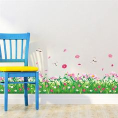 Cheap sticker decal shop, Buy Quality decal decor removable wall art directly from China sticker home Suppliers: DIY wall stickers home decor Nature Colorful Flowers Grass dragonfly stickers muraux Wall Decals floral pegatinas de pared