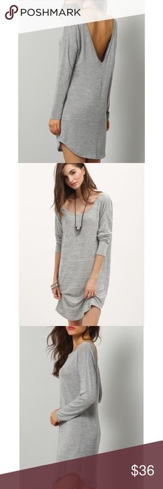 """•Last One• Heather Gray V-Back Shirt Dress Loose-fit, Long sleeve, jersey shirt dress. Cotton blend fabric with some stretch to it.  X-Small  Bust: 40""""  Length: 33"""" Small      Bust: 42""""  Length: 34"""" Medium  Bust: 44"""" Length: 34.5"""" Large      Bust: 46""""  Length: 35""""  This dress is made to be loose-fit.  ❗️Price is firm unless bundled❗️ 523 Boutique Dresses"""