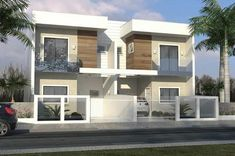 Duplex House Plans, Modern House Plans, House Floor Plans, Bungalow Haus Design, Duplex House Design, Townhouse Designs, Modern Townhouse, Narrow House, Two Storey House