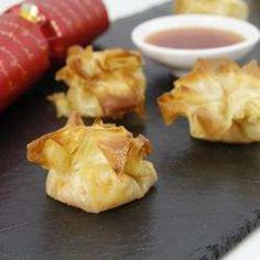 Brie and mango chutney filo parcels