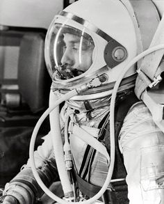 Space History Photo: Astronaut Alan Shepard, in his silver pressure suit with the helmet visor closed, prepares for his upcoming Mercury-Redstone 3 (MR-3) launch. On May 5, 1961, Alan B. Shepard Jr. became the first American to fly into space.