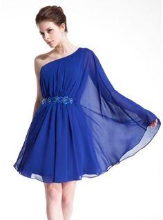 A-Line Princess One-Shoulder Short Mini Chiffon Homecoming Dress With  Ruffle Beading - JJsHouse ab96da3458
