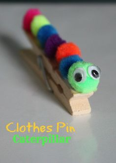 Caterpillar Clothes Pin Easy Kids Craft; worm, ... | Girl Scout ideas