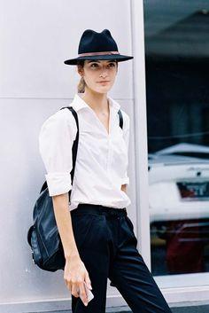 Black hat, white shirt, black pant. Done.
