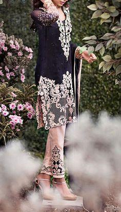Buy Black/Light Peach Embroidered Chiffon Dress by Mina Hasan 2015.