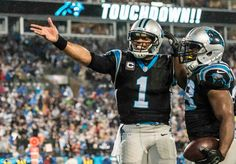 Cam and J-Stew celebrate a TD on MNF vs the Colts.