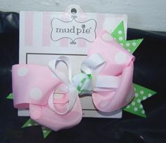 New Mud Pie Bow Hair Clip Green Pink White Polka Dot Double Bow #Baby #Gift #Deal