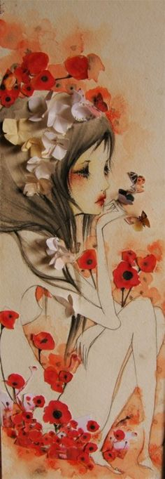 pretty. red poppies art watercolor painting