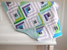 Modern quilt / log cabin / child quilt / toddler quilt / extra cover for twin bed / throw quilt / quilted play mat