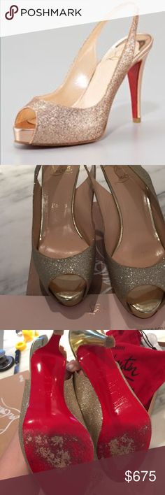 Christian Louboutin gold prive glitter open toe Great condition. Worn one time. Comes in original box with dust bag and even the CL note inside :) paid $900 with tax. Perfect for year round and not the crazy high heel. Comfortable. Christian Louboutin Shoes Heels