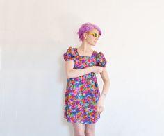 1970 neon floral velvet dress . mod micro mini puff by DOTTO