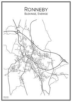 Ronneby. Blekinge. Sverige. Karta. City print. Print. Affisch. Tavla. Tryck.