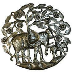 24-inch 'Mother Elephant and Calf' Metal Art (Haiti) | Overstock.com Shopping - Top Rated Global Crafts Wall Hangings