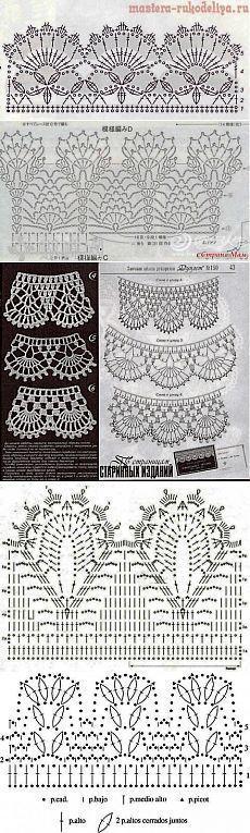 Crochet lace edging charts, pineapples, scallops, etc. Схемы для каймы и оборок - подборка | Вязание крючком и спицами