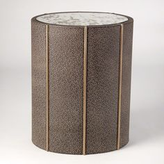 Global Views 7.90325 Churchill Oval Drum Table Shagreen Leather Furniture Tables End Tables