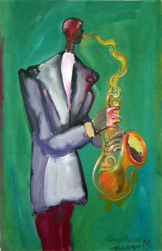 """""""Gran saxo"""" ,acrylic on canvas, year 2007 , pinturas de Diego Manuel"""