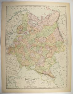 Vintage Map of Russia Poland 1896 Large Map Ukraine Gift Idea for Home Decor Genealogy Research Russian Historic Map Geography Wall Map Art by OldMapsandPrints on Etsy