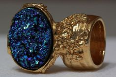 DRUZY STYLE #CRYSTAL KNUCKLE ART STATEMENT #RING SPARKLE BLUE GREEN GOLD WOMAN ARTY TRIBAL #JEWELRY
