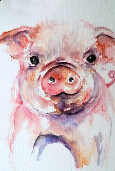 ORIGINAL Watercolor Piglet Painting, Pink Cute Pig, Little Piggy, Baby Pig 4x6…