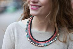DIY: Lizzie Fortunato inspired Mixed Media Collar Necklace - Stripes and Sequins Necklace Tutorial, Diy Necklace, Collar Necklace, Tribal Necklace, Layered Necklace, Statement Necklaces, Black Rope, Diy Schmuck, Metal Beads