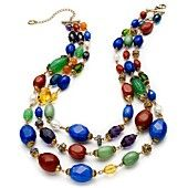 Lauren Ralph Lauren Necklace, Gold-Tone Colorful Bead Three-Row Necklace