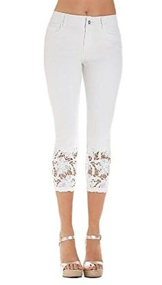 New Trending Pants: Inorin Women's Lace Trim Jeans Knee-length Capri Denim Blue Skinny Jeans Casual Cropped Pants. Inorin Women's Lace Trim Jeans Knee-length Capri Denim Blue Skinny Jeans Casual Cropped Pants  Special Offer: $16.99  288 Reviews Mid rise jean in light-wash stretch denim featuring classic Capri cropped silhouette.Middle Low Rise Lace Skinny Denim Fifth PantsLace trim, WashedFashion...