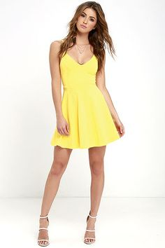 Meet Cute Yellow Skater Dress at Lulus.com!