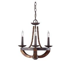 "Feiss Adan 3-Light Chandelier in Rustic Iron and Burnished Wood Finish in Ceiling Lights, Chandeliers, Indoor Chandeliers: LeeLighting.com.  $349 and 18"""