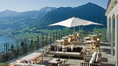 Perched on the mountainside above Ennetbuergen on Lake Lucerne, Switzerland, the Hotel Villa Honegg enjoys breathtaking views of the lake and the surrounding mountains.