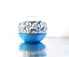 Bubble Vase Hand painted Black Blue and sparkly by PearlesPainting, $45.00