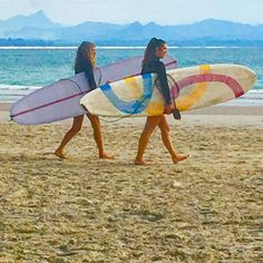 Check out our Surf clothing here! http://ift.tt/1T8lUJC Girls day in Byron Bay #longboard #wategos #beach #beachlife #surf #pastel #girlsdayout #surflife #surfergirl