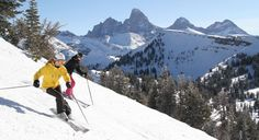 Grand Targhee, ID - For a cheaper, quieter Jackson Hole vacation. If your kids are 12 and under, they stay, ski and eat free when you buy an adult ski and stay package for three or more nights. Skiing Memes, Best Family Ski Resorts, Ski Vacation, Wyoming, Places To Travel, Jackson Hole, Range, Eat, Mountains