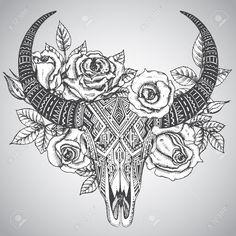 Afbeeldingsresultaat voor cow skull tattoo leaves and flowers Cow Skull Tattoos, Bull Tattoos, Taurus Tattoos, Leg Tattoos, Flower Tattoos, Body Art Tattoos, Sleeve Tattoos, Texas Tattoos, Tattoo Sleeves