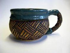 Handmade-Pottery-Basketweave-Coffee-Mug