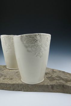 Licia Lucas Pfadt Simple Textured White Tumbler Cup Ceramic by ShadyGrovePottery