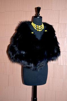 Gorgeous Black Fox Fur  Stole Wrap Cape Long Hair by Vtgantiques, $500.00