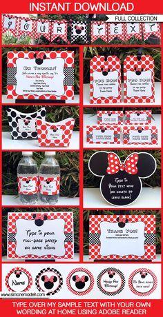 Minnie Mouse Birthday Party Printables, Invitations, Decorations   Editable Theme Templates   INSTANT DOWNLOAD $12.50 via SIMONEmadeit.com